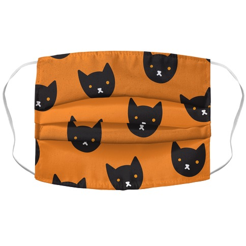 Black Cat Face Pattern Accordion Face Mask