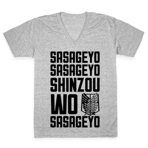 Sasageyo Sasageyo Shinzou Wo Sasageyo V-Neck Tee Shirt