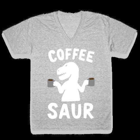 Coffeesaur Dinosaur V-Neck Tee Shirt