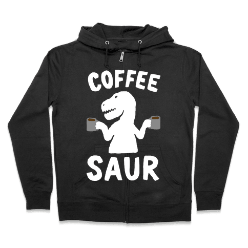 Coffeesaur Dinosaur Zip Hoodie