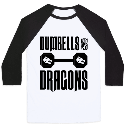 Dumbells & Dragons Parody Baseball Tee