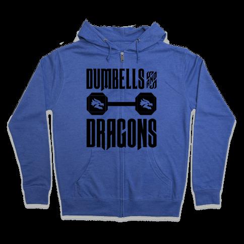 Dumbells & Dragons Parody Zip Hoodie