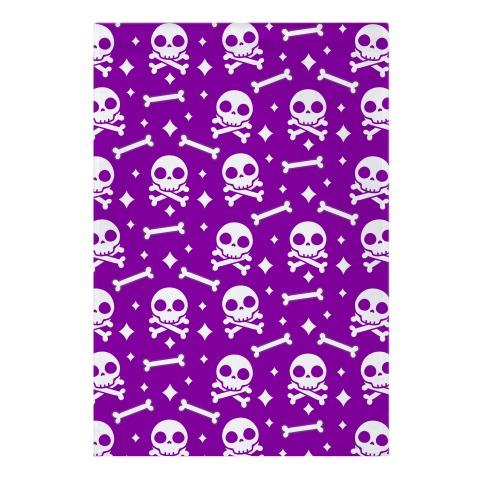 Cute Skull N' Bones Pattern (Purple) Garden Flag