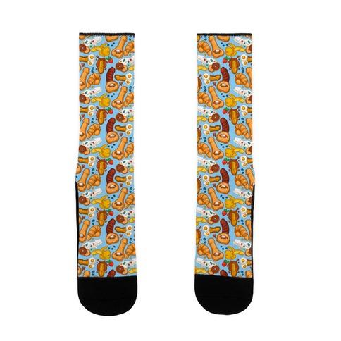 Phallic Breakfast Pattern Sock