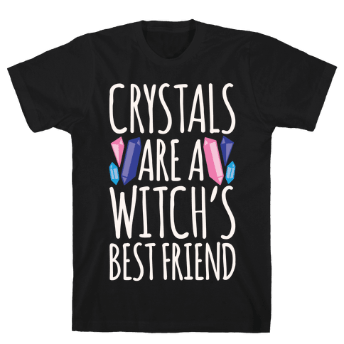 Crystals Are A Witch's Best Friend White Print Mens T-Shirt