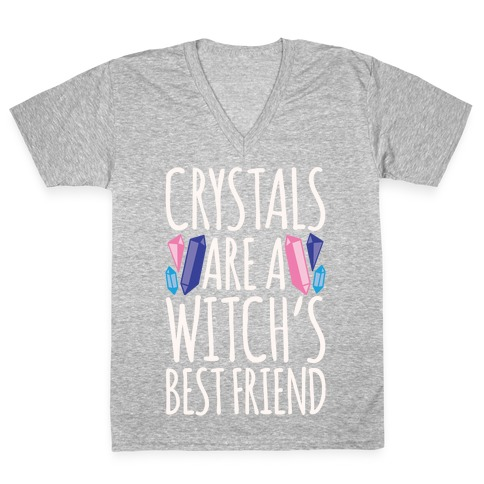 Crystals Are A Witch's Best Friend White Print V-Neck Tee Shirt