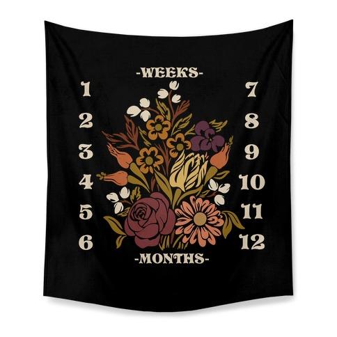 Floral Boho Baby Milestone Tapestry