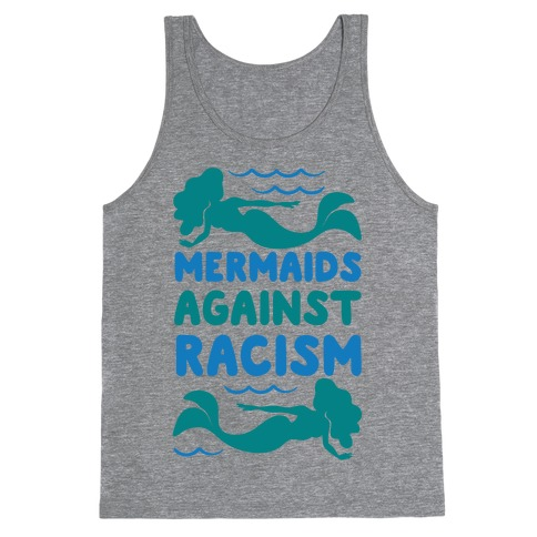 Mermaids Against Racism White Print Tank Top