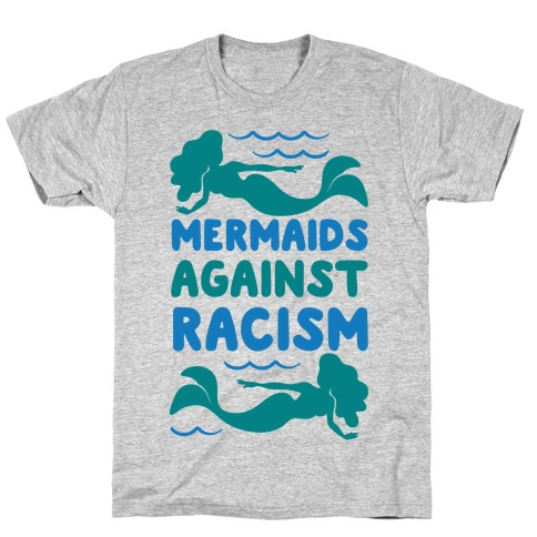 Mermaids Against Racism White Print T-Shirt