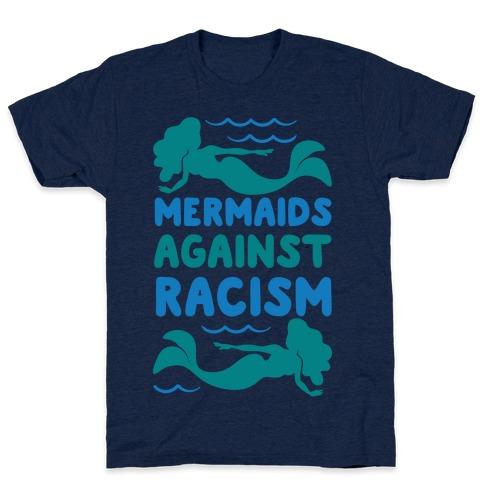 Mermaids Against Racism White Print T-Shirt