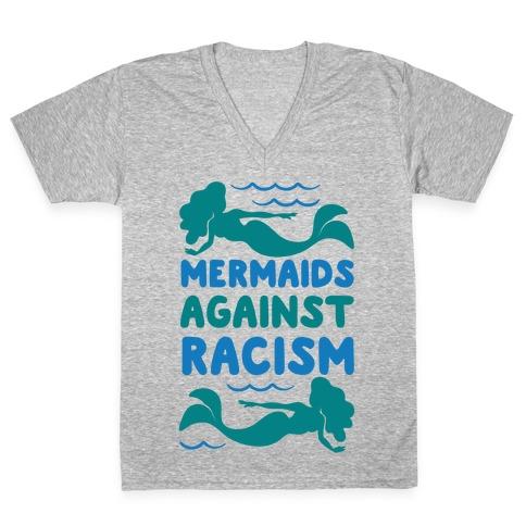 Mermaids Against Racism White Print V-Neck Tee Shirt
