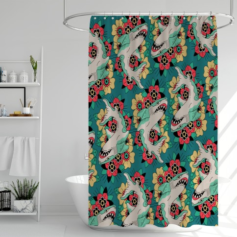 Floral Shark Traditional Tattoo Shower Curtain