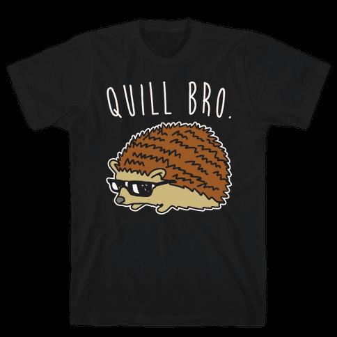 Quill Bro White Print Mens T-Shirt