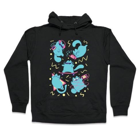 90's Cats Pattern Hooded Sweatshirt