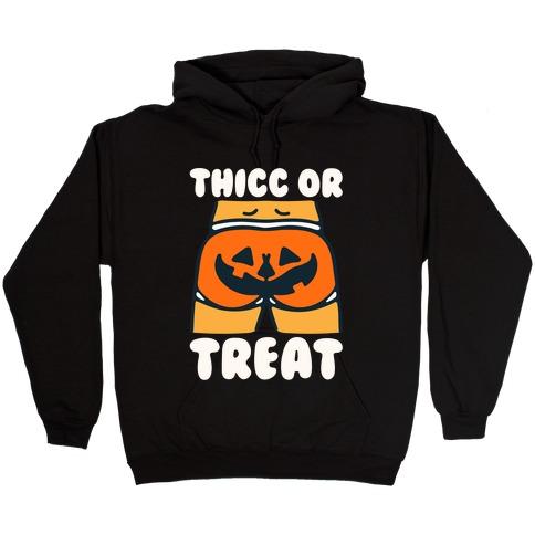 Thicc Or Treat Pumpkin Butt White Print Hooded Sweatshirt