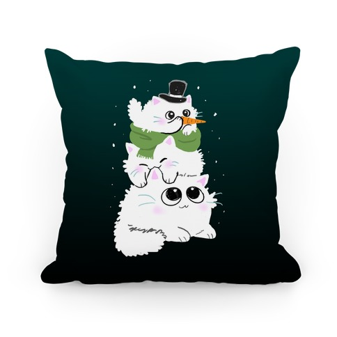 Cat Stack Snowman Pillow