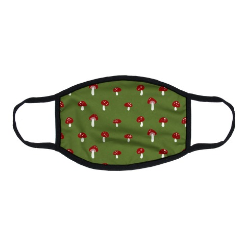 Dainty Mushroom Pattern Green Flat Face Mask
