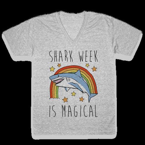 Shark Week Is Magical Parody V-Neck Tee Shirt