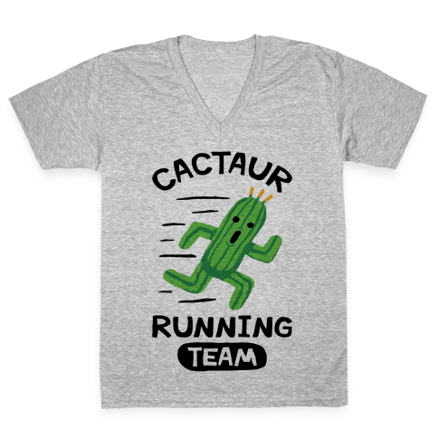 Cactaur Running Team V-Neck Tee Shirt