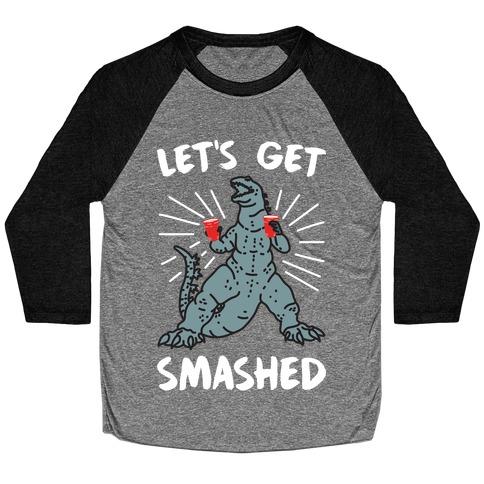 Let's Get Smashed Party Kaiju Baseball Tee