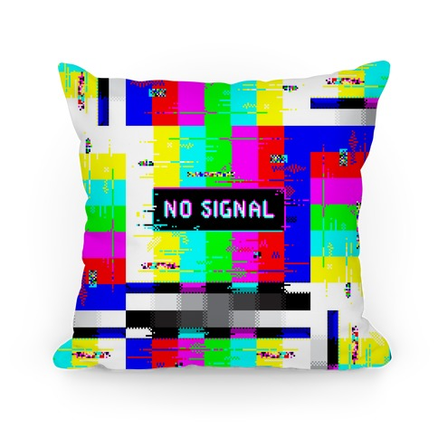 Glitchy No Signal Bars Pillow