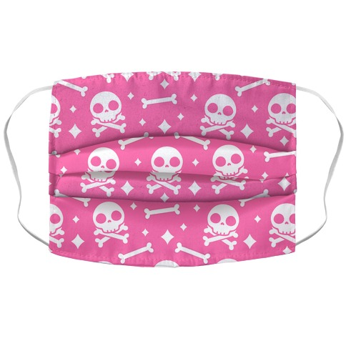 Cute Skull N' Bones Pattern (Pink) Accordion Face Mask