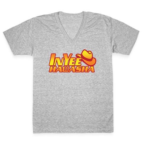 InYeeHawsha Parody White Print V-Neck Tee Shirt