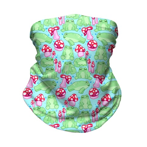 Frogs and Fungus Pattern Neck Gaiter