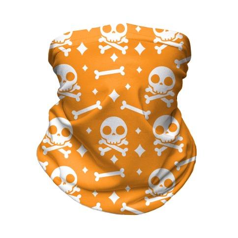 Cute Skull N' Bones Pattern (Orange) Neck Gaiter