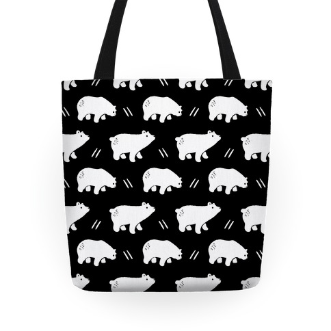 Bear Black and White Boho Pattern Tote