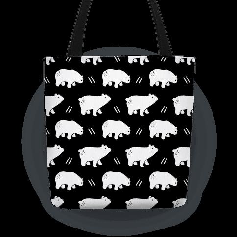 Bear Black and White Boho Pattern Tote