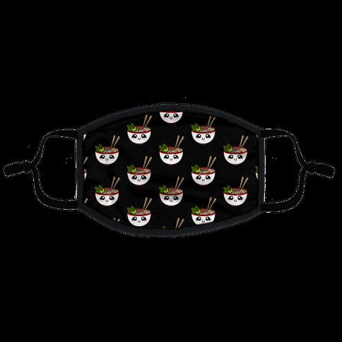 Happy Bowl Of Pho Pattern Black Flat Face Mask
