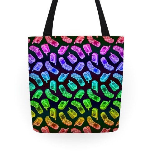 Rainbow Flip Phone Pattern Tote