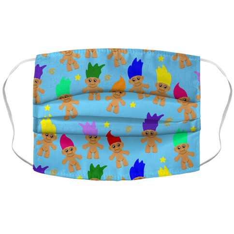 Rainbow Troll Pattern Accordion Face Mask