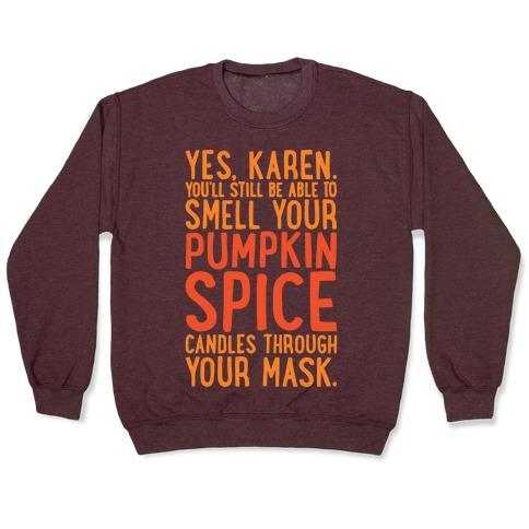 Yes Karen Pumpkin Spice White Print Pullover