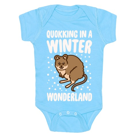 Quokking In A Winter Wonderland White Print Baby Onesy