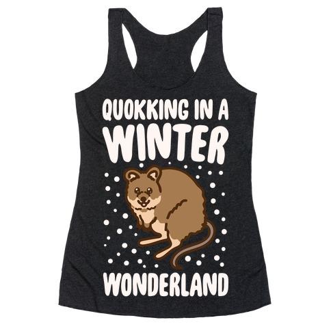 Quokking In A Winter Wonderland White Print Racerback Tank Top