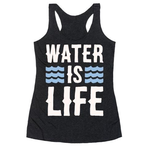 Water Is Life White Print Racerback Tank Top