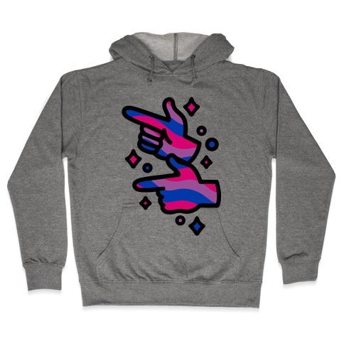 Bisexual Pride Finger Guns Hooded Sweatshirt