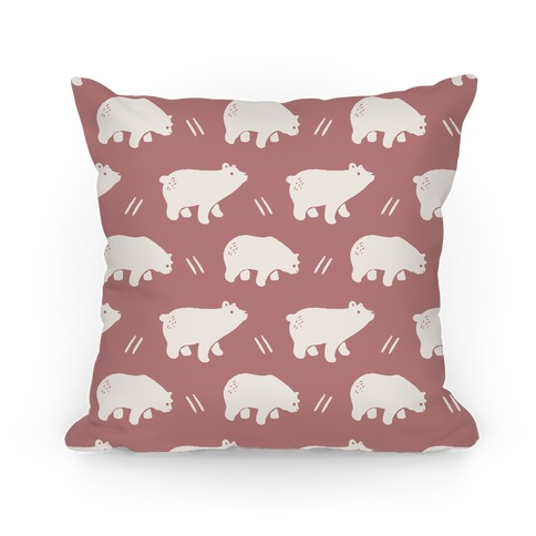 Bear Dusty Rose Boho Pattern Pillow