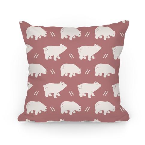 Bear Dusty Rose Boho Pattern Pillow