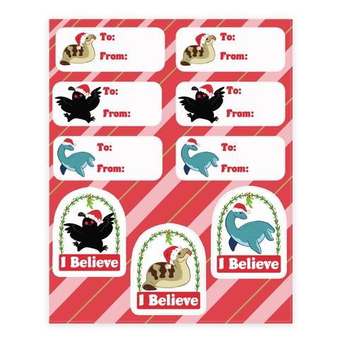 Cryptid Christmas Gift Tags Sticker and Decal Sheet