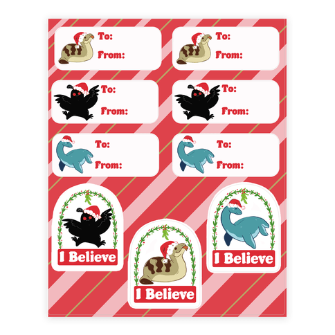 Cryptid Christmas Gift Tags Sticker/Decal Sheet