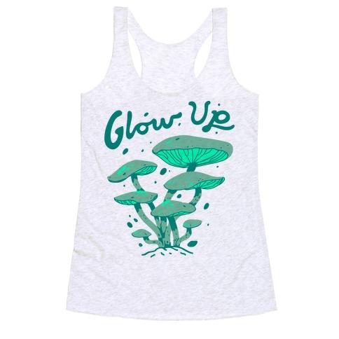 Glow up Bioluminescent Mushrooms Racerback Tank Top