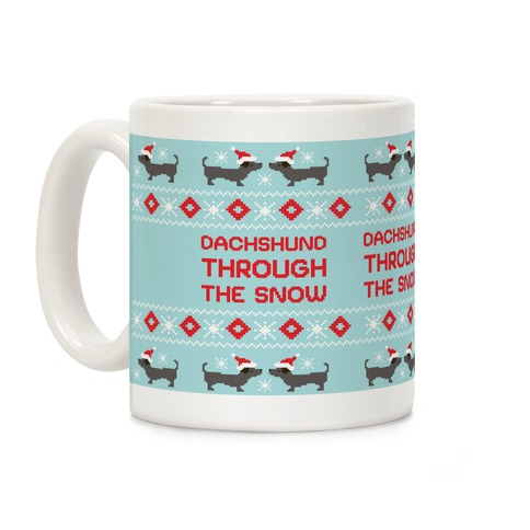 Dachshund Through The Snow Santa Coffee Mug