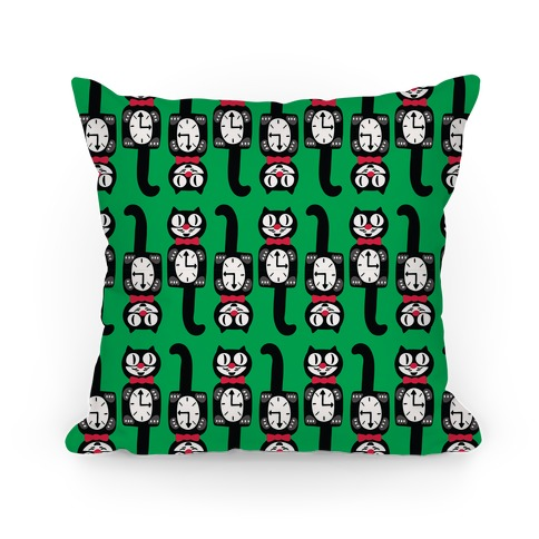 Retro Christmas Cat Clock Pattern Pillow