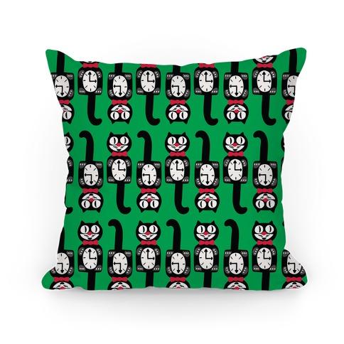 Retro Christmas Cat Clock Pattern Pillow