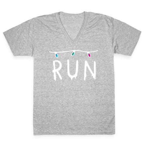 Run Stranger Things V-Neck Tee Shirt