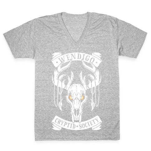 Wendigo Cryptid Society V-Neck Tee Shirt