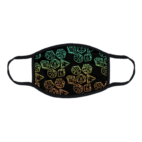 RPG Dice Rainbow on Black Flat Face Mask